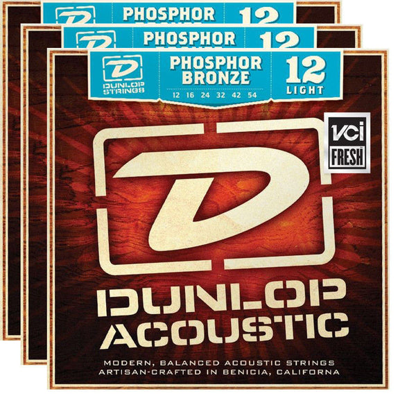 Dunlop DAP1254 12-54 Phosphor Bronze Light Acoustic Guitar Strings - 3 Pack