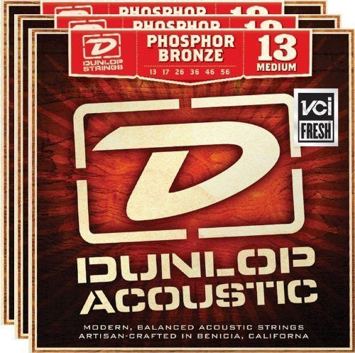 Dunlop DAP1356 13-56 Phosphor Bronze Medium Acoustic Guitar Strings - 3 Pack