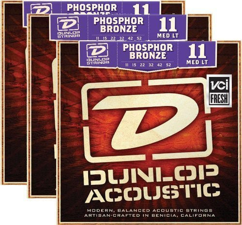 Dunlop DAP1152 11-52 Phosphor Bronze Medium Light Acoustic Guitar Strings - 3 Pack