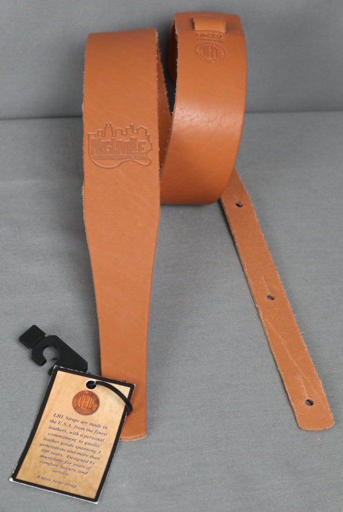 "Long Hollow Leather 2"" Latigo Guitar Strap w/ NashvilleGuitarStore Logo - Tan"