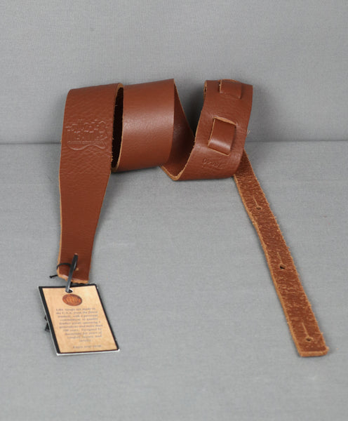 "Long Hollow Leather 2.5"" Latigo Guitar Strap w/ NashvilleGuitarStore Logo - Brown"