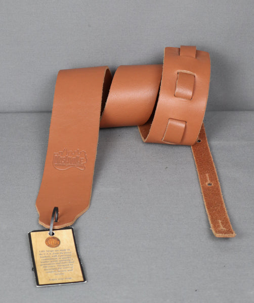 "Copy of Long Hollow Leather 2.5"" Latigo Guitar Strap w/ NashvilleGuitarStore Logo - Tan"