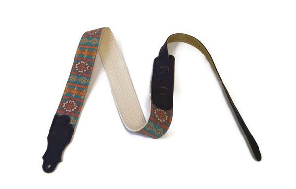 "Franklin Strap 2"" Old Aztec Guitar Strap w/ Chocolate End Tabs"