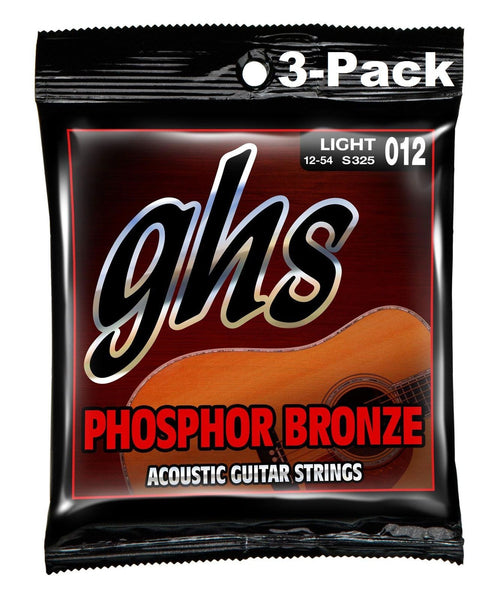 GHS S325 Phosphor Bronze 12-54 Light Acoustic Guitar Strings - 3 Pack