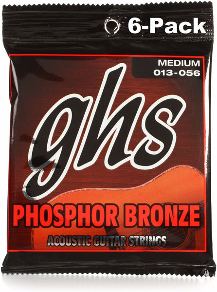 GHS S335 Phosphor Bronze 13-56 Medium Acoustic Guitar Strings - 6 Pack