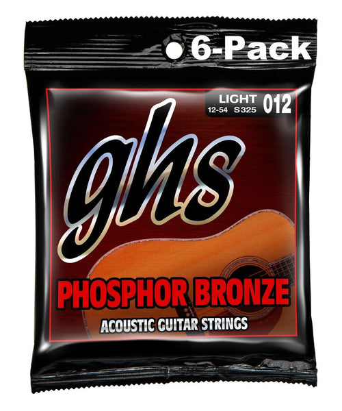 GHS S325 Phosphor Bronze 12-54 Light Acoustic Guitar Strings - 6 Pack