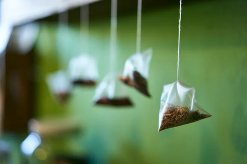 5 pyramid tea bags hanging from a shelf, shown against a green wall