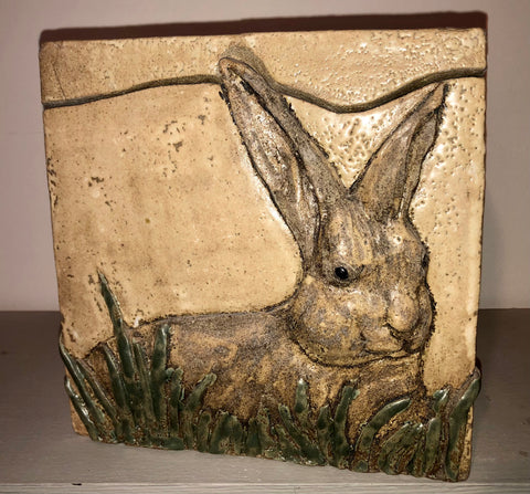 A relief carving of a rabbit.