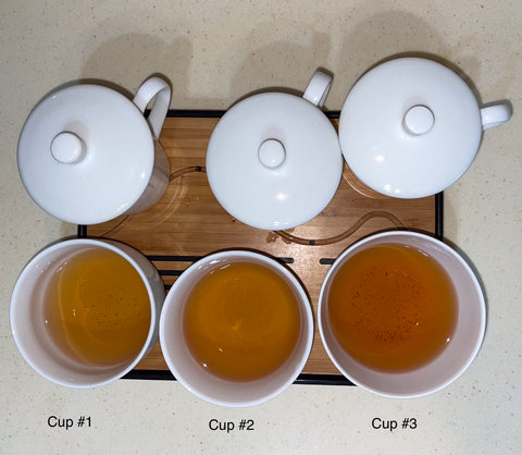 Three different white cups are filled half-way with tea. They are labeled Cups 1-3. Each cup of tea has a slightly different liquor.