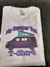 Load image into Gallery viewer, PURPLE MY T5 CAMPERVAN DTG PRINTED T-SHIRT UNISEX T6 T4 T2 T35 DUB TRANSPORTER