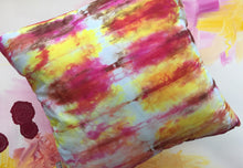 Load image into Gallery viewer, Hand Dyed Pillow in Pink, Brown and Yellow