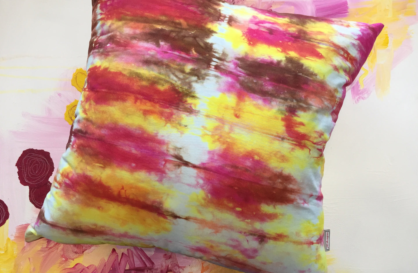 Hand Dyed Pillow in Pink, Brown and Yellow