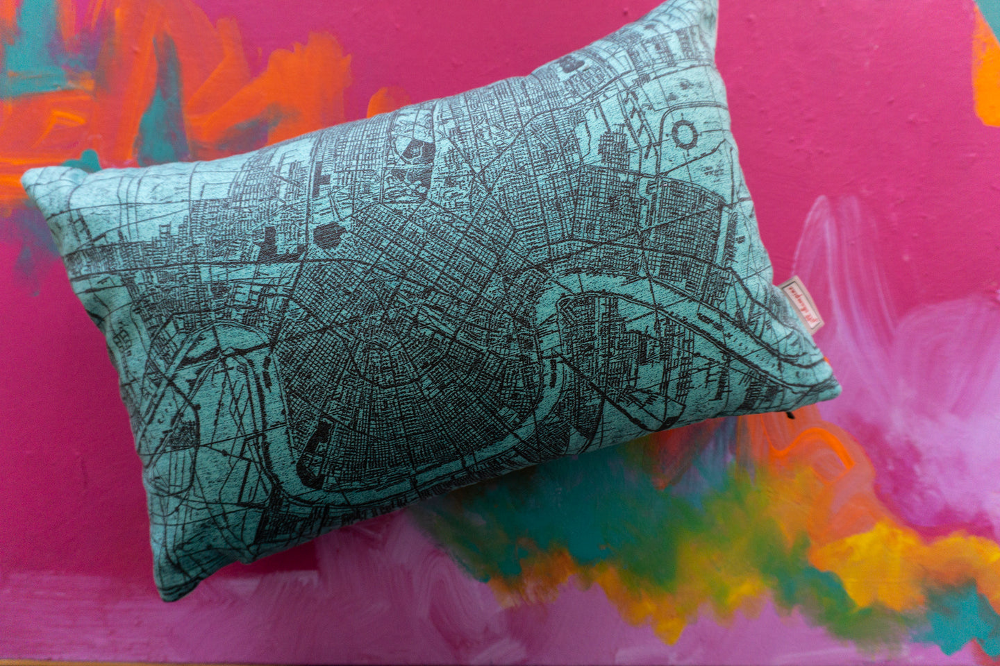 NOLA Map Pillow in Turquoise