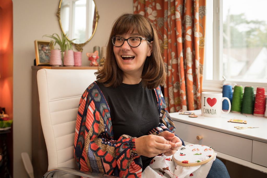 Photo of Canadian Stitchery owner Mary in her home studio