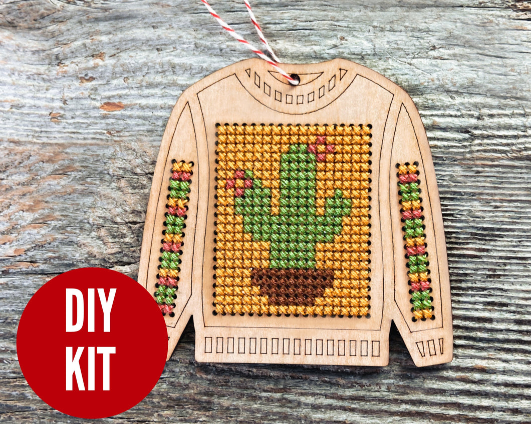 Ugly sweater Christmas cactus cross stitch ornament kit