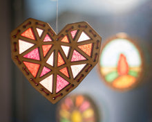 Load image into Gallery viewer, Geometric heart premium sun catcher DIY craft kit