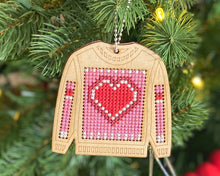 "Load image into Gallery viewer, Valentine's heart ""ugly sweater"" cross stitch ornament kit"