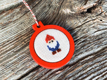 Load image into Gallery viewer, Gnome ornament in red wood frame