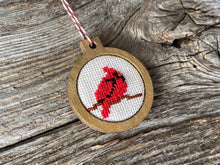 Load image into Gallery viewer, Bullfinch red bird ornament in silver wood frame
