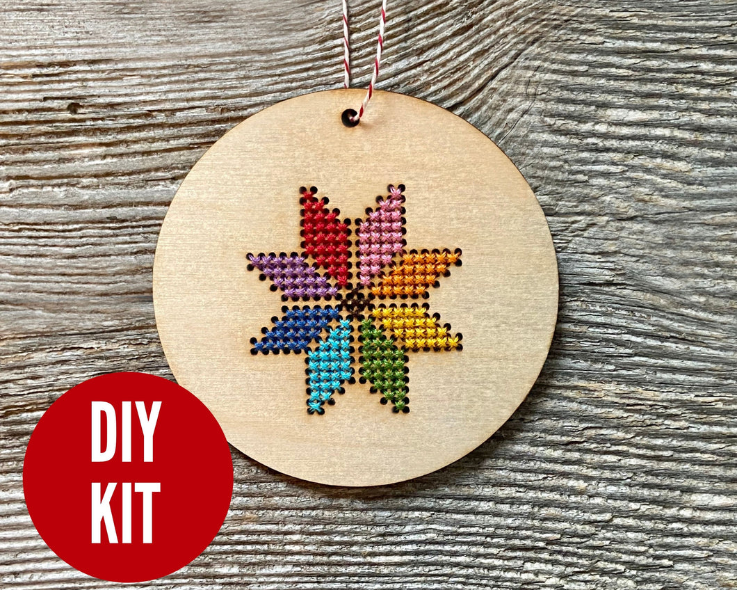 Merry and Bright cross stitch ornament kit