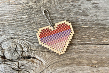 Load image into Gallery viewer, Ombre heart DIY laser cut wood cross stitch kit