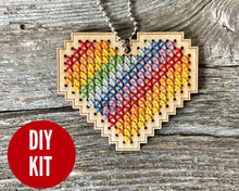 Load image into Gallery viewer, Rainbow heart DIY laser cut wood cross stitch kit