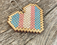 Load image into Gallery viewer, Transgender pride flag heart DIY laser cut wood cross stitch kit