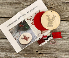 Load image into Gallery viewer, Reindeer DIY cross stitch ornament kit