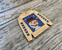 Load image into Gallery viewer, Ugly sweater with cheerful snowman ornament kit