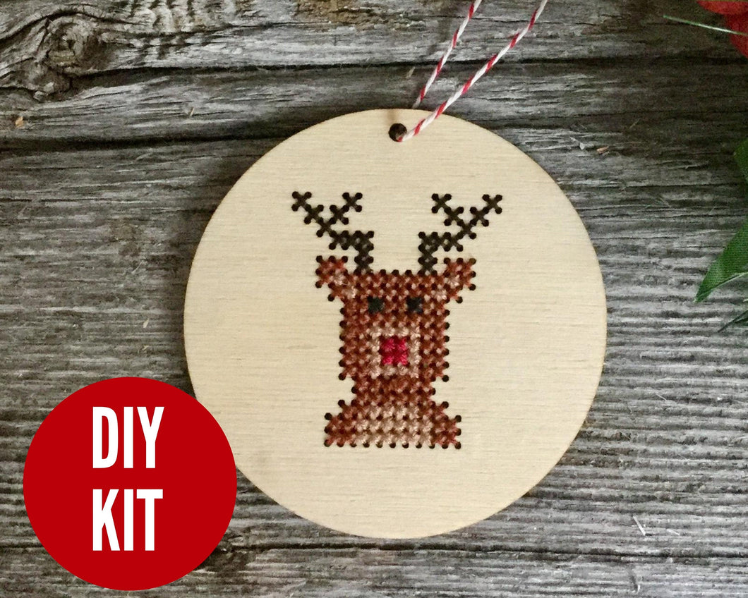 Reindeer DIY cross stitch ornament kit