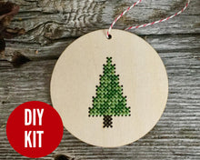 Load image into Gallery viewer, Modern tree ornament DIY cross stitch kit