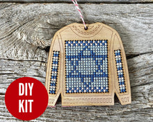 Load image into Gallery viewer, Ugly sweater with Star of David ornament kit