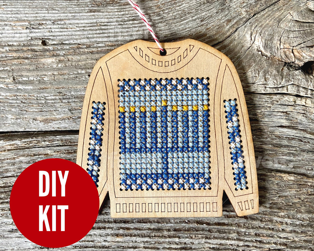 Ugly sweater with Menorah ornament kit