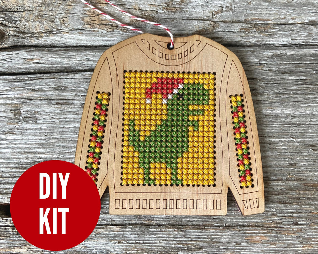 Ugly sweater T. Rex cross stitch ornament kit
