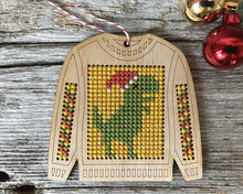 Load image into Gallery viewer, Ugly sweater T. Rex cross stitch ornament kit