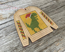 Load image into Gallery viewer, Ugly sweater dinosaur cross stitch ornament kit