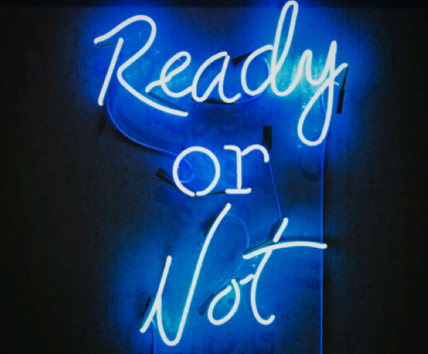 Neon Text saying Redy or Not