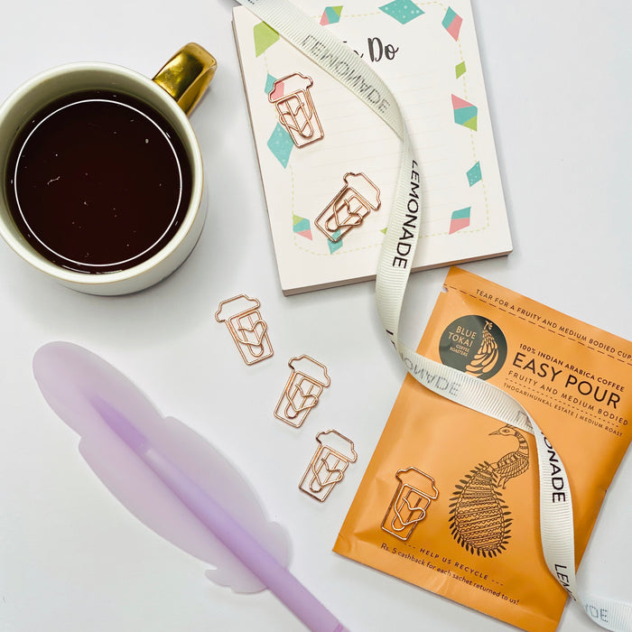 Bookmark Paperclips - Coffee Mug - Rose Gold - Set of 6-Description: Make your notebook or planner stand out with one of these cute paper clip sets. They can be used as paper clips as well as bookmarks. The set is presented on a hard paper card that makes it perfect as a little gift. Rose Gold metallic coffee paperclips, perfect for bookmarking or decoration. Dimension: H - 0.8 Inches Each set includes 6 paper clips.-Default Tittle-LemonadeIndia