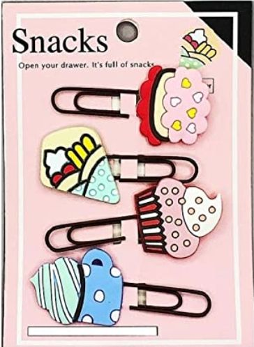 Bookmark Paperclips - Sweet Stuff - Set of 4 - Assorted-Description: Use these super cute Sweet Stuff Paper Clips by Lemonade to brighten up your daily planners and organizers. They can also be used as calendar markers, bookmarks, scrapbooks, or anywhere you need some fun! A great gift for all stationery lovers!These clips are a great way to also clip & organize all your post-its and doodles in one place. Now off you go to declutter your office space in a stylish way! Dimension: 2.75 Inches appr