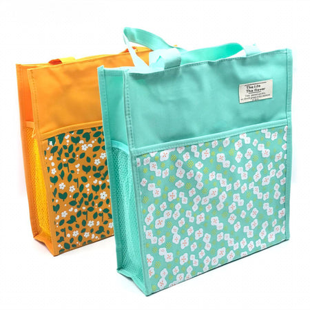 Canvas Floral Bag - Green-Description: A spacious tote with summer prints for your picnics! Use these colourful bags to eliminate all single-use plastic bags. These lightweight & spacious totes can also be used for grocery trips, picnics, everyday use etc. Sold Individually. Dimensions: 11 x 12 x 4 Inches-Default Tittle-LemonadeIndia