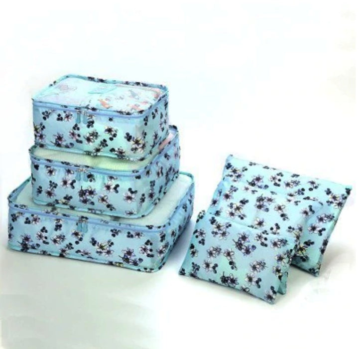 Closet and Travel Organizer - Set of 6 - Floral Blue