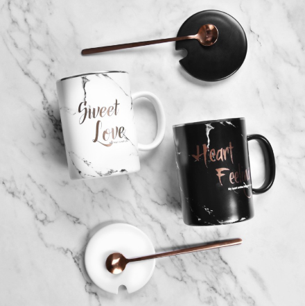 Coffee Mug - Sweet Love with Silver Spoon & lid