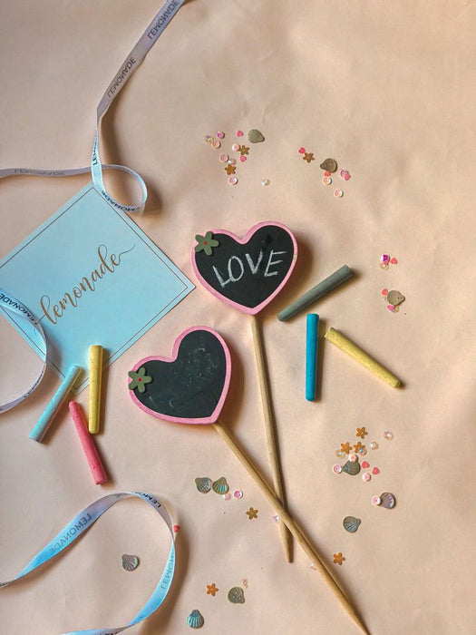 Colourful Message Sticks with Wooden Clips - Set of 2 - Hearts