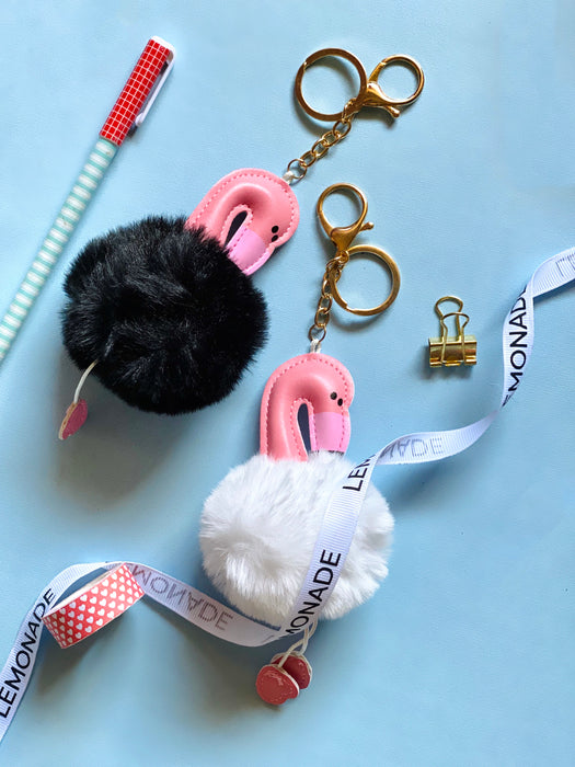 Flamingo Fur Ball Keychain