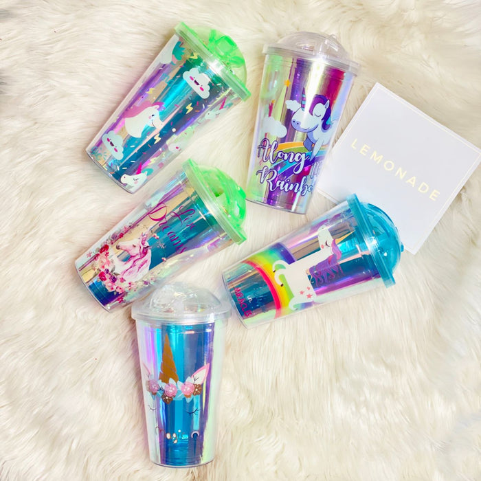Holographic Travel Sippers - Dreamy Magic-Description: These super cute + portable Travel Sippers from Lemonade ensure you are eliminating all single-use plastic in the most stylish manner. We recommend hand-wash only. Not suitable for hot liquids, This sipper comes with an attached reusable plastic straw. Dimensions: H - 6 Inches Sold Individually.-LemonadeIndia
