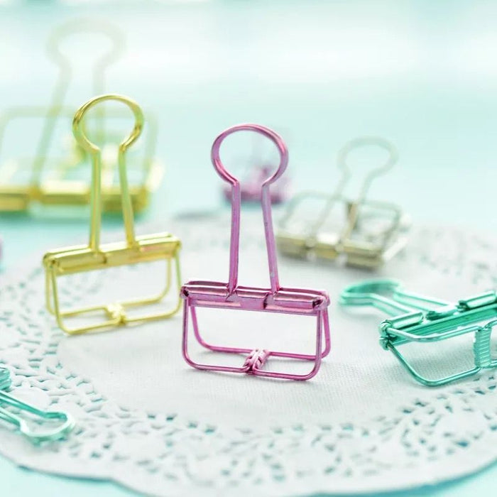 Colourful Metallic Binder Clips - Set of 5