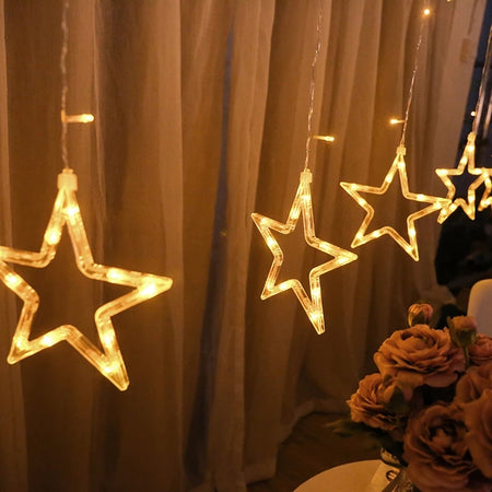 LED Star Lights - 10 Strings-Description: A super minimal element from Lemonade for your Pinterest inspired room!This night light can be hung on the wall or displayed above your bed or even used as decor for festivities. This emits a warm light that makes any room more calming to help your little ones sleep. Sold a string of 10 stars.-LemonadeIndia