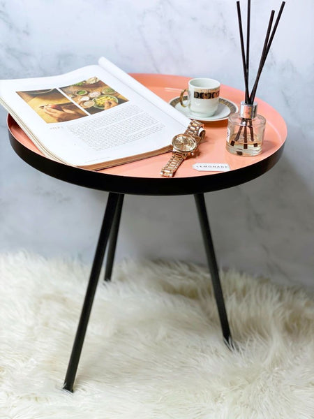 Foldable Coffee Table - Peach-Description: Welcome the newest addition in our Made In India Collection. This handmade super sleek & stylish Peach Foldable Coffee Table by Lemonade is the perfect addition in your Pinterest inspired room decor! Place it next to the sofa or the bedside & glam up the space in seconds. This versatile metallic table has 3 foldable legs making it easier to store it when not in use or move it around and place it anywhere you like! It works well for both modern and tradi
