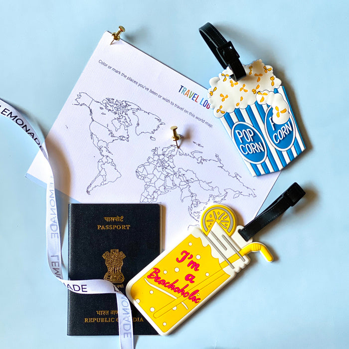 Quirky Travel Luggage Tag - Colourful Popcorn Blue-Description: Our super colourful and quirky luggage tags from Lemonade will ensure that your bag stands out through a pool of a million bags at the airport. These luggage tags feature colourful designs + has slots for you to fill your name,address, contact number and email. Sold Individually. Dimensions: 6 x 10 cms-Default Tittle-LemonadeIndia