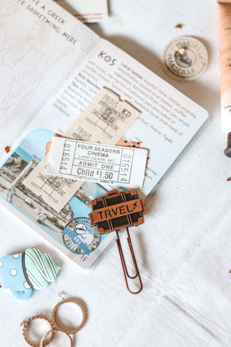 Metallic Paper Clip Bookmark - Travel